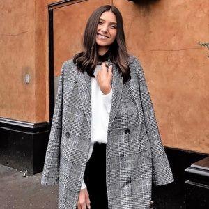 Black and White Glen Plaid Long Coat